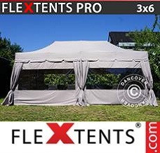 Carpa eventos PRO Peaked 3x6m Latte, incluye 6 paredes laterales